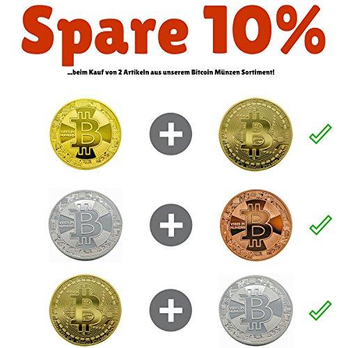 Bitcoin Münze Gold – 24 Karat Gold Beschichtung, Design 2017 aus Deutschland, hochwertige Optik, schwere Qualität, ideal als Geschenk oder Glücksbringer - 6