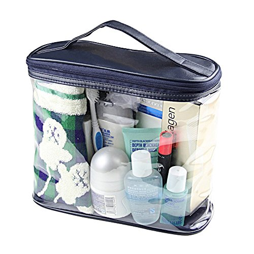 Mlmsy clair Cosmétique Sac Transparent Voyage de toilette Sacs en PVC étanche Maquillage Organiseur Sac de maquillage pour femme Coque de toilette de rasage pour homme avec poignée supérieure