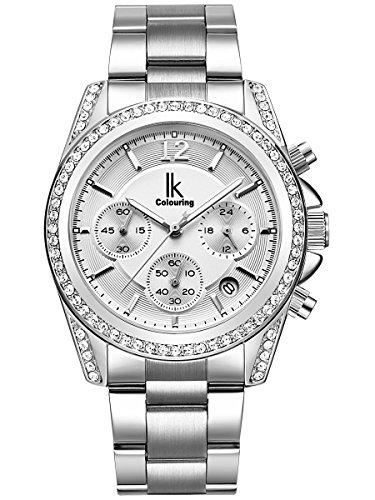Alienwork Quarz Armbanduhr Multi-funktion Uhr Damen Uhren Mädchen Strass Metall weiss silber K001GA-02
