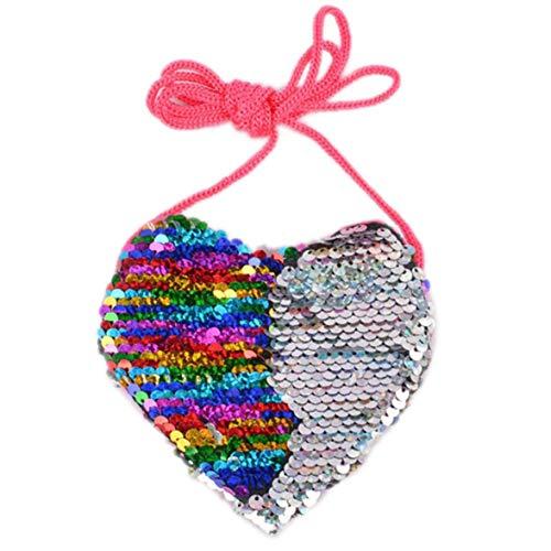 Pailletten Liebevolles Herz-Schulter-Münzen-Beutel Mini Messenger Wallet-Karikatur Kleine Geldbörse Kinder Handtaschen -