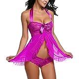 Amlaiworld Mujer Ropa Interior Camisón Babydoll Halter Cordón Transparente Lencería (L, Púrpura)