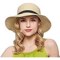 ZUMUii Butterme Mujer Mode de Verano de Playa de Paja Sombrero Plegable Sombrero Viaje Playa de Tapa con reizendem Lazo Beige Talla ¨²nica