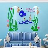 Neue Unterwasserwelt Wandaufkleber Kinderzimmer Cartoon wasserdichtes Badezimmer Aufkleber 3D fest abnehmbar, 530 Meeresboden - dunkelblaues, orangefarbenes Meeresgrün, Übergröße