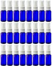 Cobalt Blue 1 oz Boston Round PET (BPA Free) with White Fine Mist Sprayer (24 Pack) + Labels