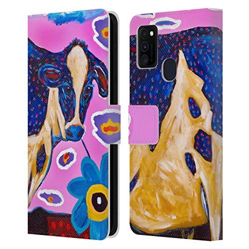 Head Case Designs Offizielle Mad Dog Art Gallery Rosafarbene Kuh Tiere Leder Brieftaschen Huelle kompatibel mit Samsung Galaxy M30s (2019) -