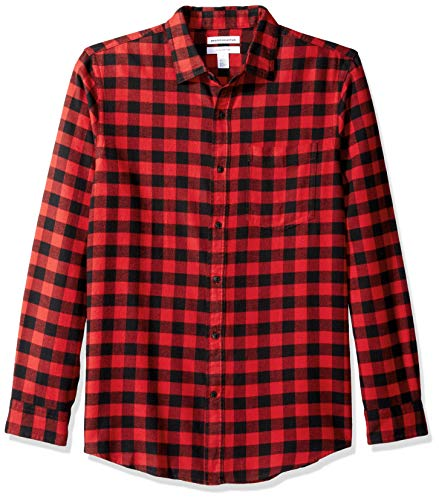 Amazon Essentials Herren Slim Fit Kariertes Flanellhemd mit langen Ärmeln, Rot (Red Buffalo Plaid), Gr. Medium