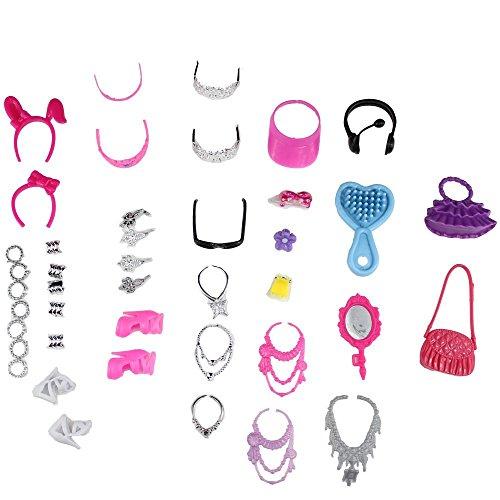 Miunana 40 Stk Mix Puppenzubehör Schmuck Zubehör Accessoires Schuhe Taschen für Barbie-Puppen Kleidung Zufällige Stil