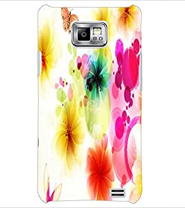 PrintDhaba Floral Pattern D-1107 Back Case Cover for SAMSUNG GALAXY S2 (Multi-Coloured)