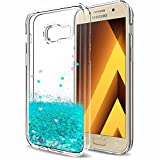 LeYi Hülle Galaxy A5 2017 Glitzer Handyhülle mit Folie Schutzfolie,Cover TPU Bumper Schutzhülle für Case Samsung A5 2017 Handy Hüllen ZX Turquoise