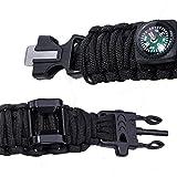 TTLIFE Superb Multi 12 Verwendet Survival Kit (Paracord Armband mit Kompass, Flaschenöffner, Whistle, Feuer-Starter und LED-Taschenlampe, Notfall-Decke, Karabiner, Karten-Messer, Draht-Säge) (Large, Schwarz) -