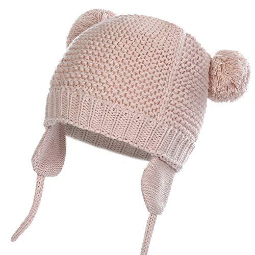 WELROG Unisex - Baby Mütze Beanie Strickmütze Kleinkind Warm Mütze Hut Winter Earflap (Nacktes Rosa, 7-16 Monate (39.98-48.7cm) / M)