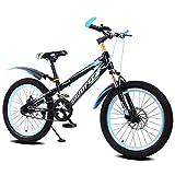 FJW Bicicleta de montaña Unisex, 16/18/20 Pulgada Marco de Acero de Alto Carbono, Velocidad única con Frenos de Disco y Horquilla de suspensión. para Estudiante/niño/Ciudad de cercanías,Black,18Inch