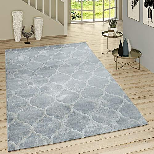 Paco Home Kurzflor Teppich Modern Marokkanisches Muster Vintage Style Ombre Look Grau Weiß, Grösse:200x290 cm