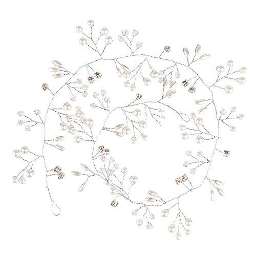 Bewish faite à la main Bandeau fleur épingles à cheveux cristal Perle de faux Perles longs cheveux bouclés Accessoires pour femme Demoiselle d'honneur Bijoux de cheveux de Lot de 50 cm/100 cm