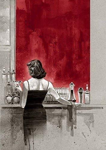 Fertig-Bild - Brent Lynch: Evening Lounge Red Study 40 x 50 cm Bar Lounge Frau Paar Skizze modern...