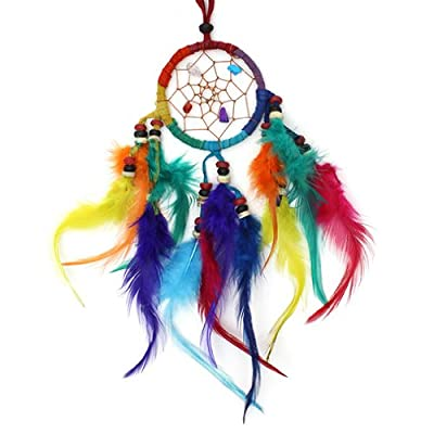 Small 6cm Cool & Colourful Rainbow Feather Dreamcatcher - Handmade Fair Trade - Helps Stop Nightmares - Free Postage