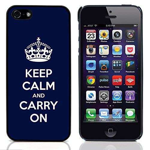 Graphic4You Keep Calm and Carry On Design Harte Hülle Case Tasche Schutzhülle für Apple iPhone 5 und 5S (Rot) Blue