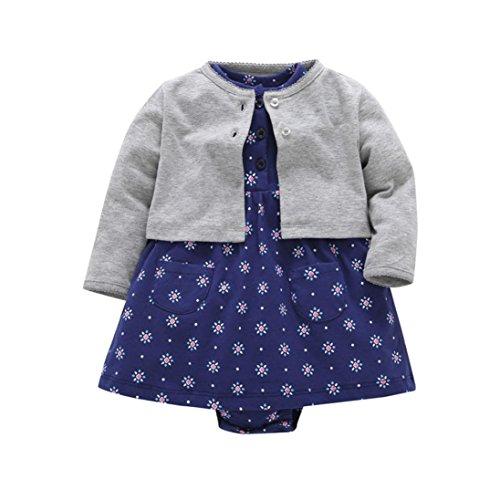 tel Kleidung Set,OverDose Neugeborenen Baby Mädchen Floral Blumen Bluse Kleid + Feste Mantel Outfits Kleidung Set(6 Monate,Grau 2) (Chucks Kleidung)