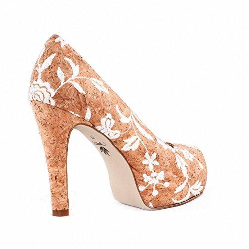 NAE Cork Rose Peep Toe - Damen Vegan Schuhe - 4
