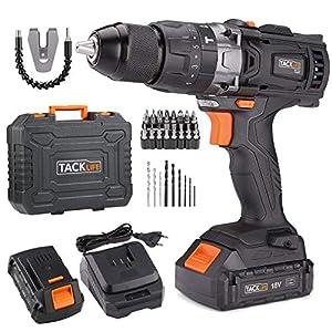 Taladro Atornillador 18 V, TACKLIFE Taladro Percutor,Max 60 Nm, 2x 2.0Ah Baterías Litio 18V, 13 mm Portabrocas Automatico,1H Carga Rápida – PCD04B