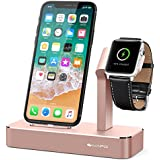 iVAPO Apple Watch und iPhone Ladestation Apple Watch Ständer für Apple Watch Series 2/ Apple Watch Series 3/ Apple Watch Series 3 with Cellular/ Apple Watch Series 1/ Apple Watch Nike + und iPhone 8, iPhone 8 plus, iPhone X, iPhone 6 Plus, iPhone 6, iPhone 7 Plus, iPhone 7, iPhone SE, iPhone 5 (ohne Kabel)(Rotgold)