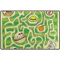 Lightweight Soft Area Rugs Easter Rabbit Maze Game Floor Mat For Kids Playing Room Hardwood Floor Living Room,Nursery Rugs,150X100X1.5 Cm