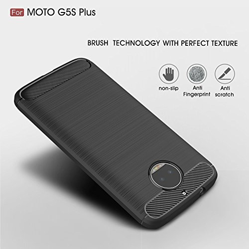 Moto G5S Plus back cover,[With one Tmepered Glass][Anti-Scratch][Light-Weight]Rugged Armor Shock Proof TPU Premium Protection Case And Cover For Moto G5S Plus By Senyoo