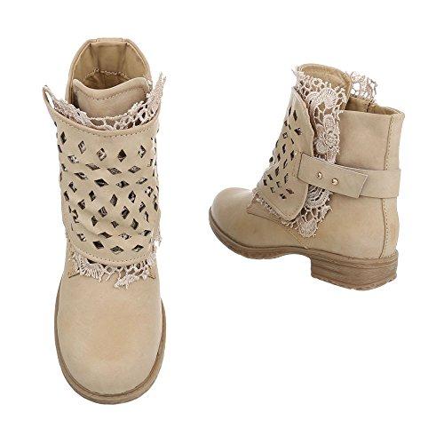 Zapatos De Mujer Botas De Tacón De Bloque Western Ital-design Botas De Beiges De Color Beige
