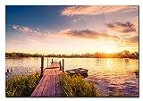 Berger Designs Bild auf Leinwand als Kunstdruck in Verschiedenen Größen. Sonnenuntergang am See. Beste Qualität aus Deutschland (120 x 80 cm (BxH))