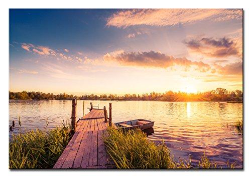 Berger Designs - Bild auf Leinwand als Kunstdruck in verschiedenen Größen. Sonnenuntergang am See. Beste Qualität aus Deutschland (120 x 80 cm (BxH))