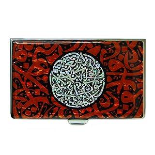 Antik Alive Perlmutt Arabian Alphabet Buchstabe Kalligraphie Design Rot Business Kreditkartenetui (B104)