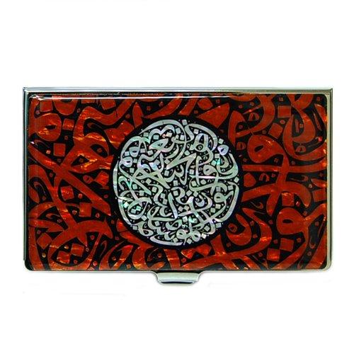 Antique Alive Nacre Lettre de l'alphabet arabe calligraphie Rouge Motif Business Porte-cartes de crédit (B104)