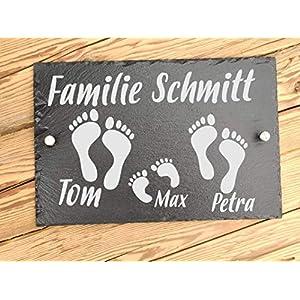 Haus-Türschild personalisiert aus Schiefer – Hausschilder mit Gravur Füße – Familienschild auch als Hausnummer…