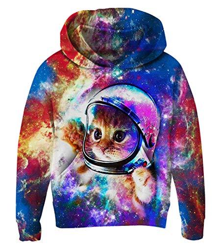 Goodstoworld Kapuzensweatshirt Kinder Jungen Mädchen Pullover Cooler 3D Galaxy cat Druck Lange Ärmel Hoodie Sweatshirt