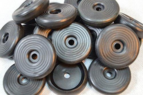 24 X Gummi Fußkappe Standfläche: ca. 45 mm (4,5 cm), Ø Öffnung (Tisch oder Stuhlbein): ca.35 mm (3,5 cm) für Biergartenstuhl / Tisch Mainau/Peru u.a. rund schwarz Tisch Stuhl Bank Biergarten