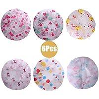 DoGeek Gorro Ducha Impermeable 6 Piezas Gorro Ducha Reutilizable para Mujer/Niña/ Adulto Plastico con Banda Elástica
