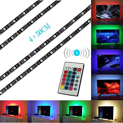 Iluminación para HDTV (78.7in / 2m) com nado a distancia – Luz multicolor RGB LED TV ALED LIGHT – Luz trasera para TV LCD pantalla planta, Monitores para ordenador – Ideal para Televisores hasta 60''