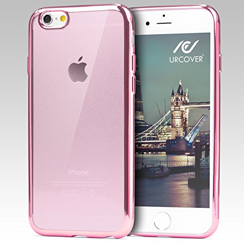 Urcover® Apple iPhone 6 Plus/6s Plus Handyhülle Silber | TPU Silikon Schutzhülle durchsichtig | Spiegelrand Hülle Transparent | Slim Cover Tasche | dünne Schale | Back-Case flexibel | Smartphone Zubeh Rosa
