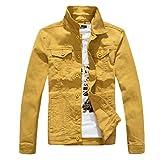 Yiiquan Herren Einfach Retro Denim Jacket Freizeit Slim Trucker-Jeansjacke für Herbst und Winter Mantel Gelb 2XL