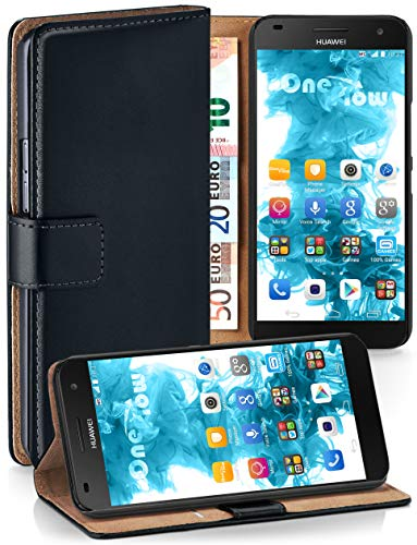 MoEx® Booklet mit Flip Funktion [360 Grad Voll-Schutz] für Huawei G7 | Geldfach & Kartenfach + Stand-Funktion & Magnet-Verschluss, Schwarz