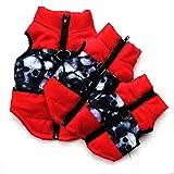 Etophigh Winter-warme Haustier-Hundekleidung-Weste-Jacken-Mantel-Hundegeschirr-Hundemantel-Hundejacke für kleinen Hund/Katze gepolsterte Winter-Kleidung (XL, Schwarz rot)