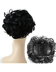 PRETTYSHOP chignon updos bun postiche Hepburn en désordre Volumineux résistant à la chaleur noir # 1 HK101