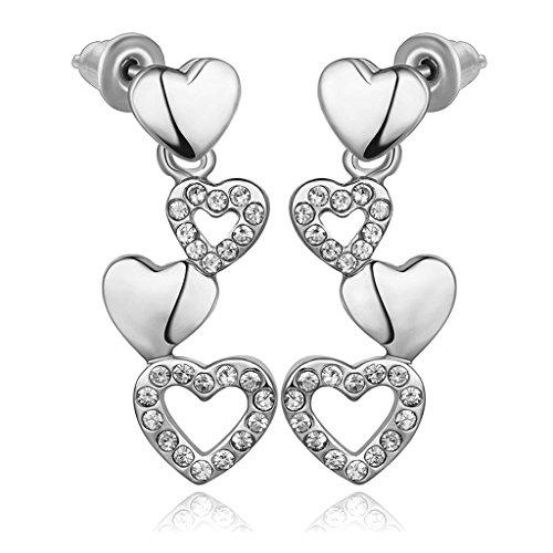 Bishilin Damen Schmuck 18K Weiß Vergoldet Tropfen-Ohrringe Für Jugend Mädchen Herz zu Herz Kristall CZ -
