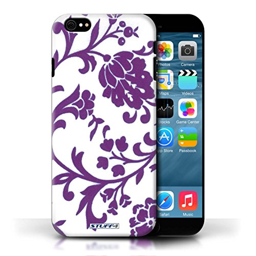 Hülle Case für iPhone 6+/Plus 5.5 / Grüne Blume Entwurf / Blumenmuster Collection Fleurs Pourpre