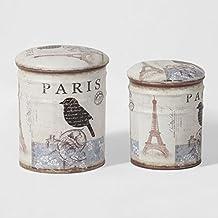 SoBuy® Lote 2 Asiento clavijas de cajas de almacenaje del asiento tapizado de metal - París, FSS59,ES