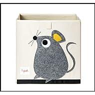 ✮ 3Sprouts ✮ cubo de almacenaje para niños 100% poliéster   caja juguetes   color blanco crudo y gris–diseño: ratón   caja de almacenaje–Estructura reforzada   dimensiones: 33x 33x 33cm   muy alta calidad, original y práctica