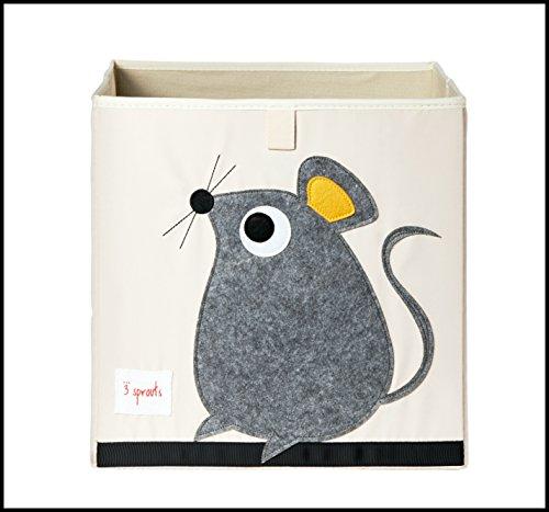 ✮ 3Sprouts ✮ cubo de almacenaje para niños 100% poliéster | caja juguetes | color blanco crudo y gris–diseño: ratón | caja de almacenaje–Estructura reforzada | dimensiones: 33x 33x 33cm | muy alta calidad, original y práctica