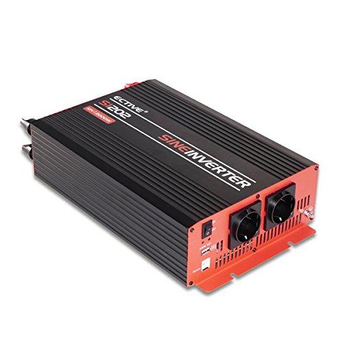 ECTIVE SI-Serie | Sinus Wechselrichter 2000W | 12V zu 230V | 7 Varianten: 300W - 3000W | 12 Volt 2000 Watt Spannungswandler DC auf AC, 12 V auf 230V Stromwandler, Inverter mit reiner Sinuswelle