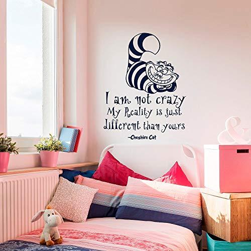 Wandaufkleber Cheshire Cat Quotes Ich Bin Nicht Verrückte Vinyl Aufkleber Zimmer Wandkunst Dekoration Mädchen Jungen Schlafzimmer 42X54CM