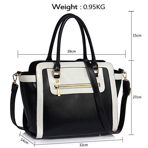 TrendStar Frau Des Faux Leder Handtasche Neu Damen Schulter Taschen Für Leinentrage Entwerfer Stil Berühmtheit Des Faux Leder B - Schwarz/Weiß